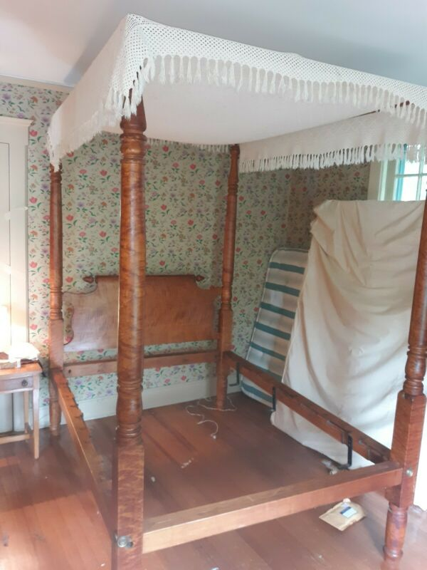 Antique American Tiger Maple Four Poster  Canopy Bed