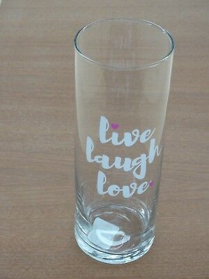 New Libbey Glass  Live ~ Laugh ~  Love With Pink Hearts 9 1/2