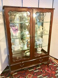 China cabinet: French vintage style, mahogany with glass doors Floreat Cambridge Area Preview