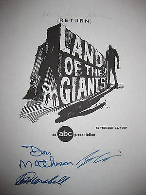 Land of the Giants Signed TV Script Don Matheson Marshall Stefan Arngrim reprint