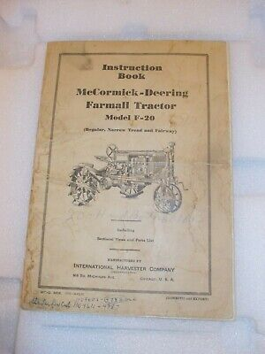 Mccormick Deering F-20 Tractor Original 1935 Instruction Book Ih Purchase Card