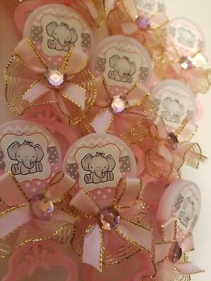 24pcs Baby Shower elephant Pin-On Favors for girl (Girl Elephant Baby Shower)