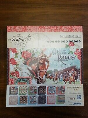 Graphic45 OFF TO THE RACES 12x12 PAPER PAD (24) SHEETS Double Sided 12x12 Paper Pad 24 Sheets
