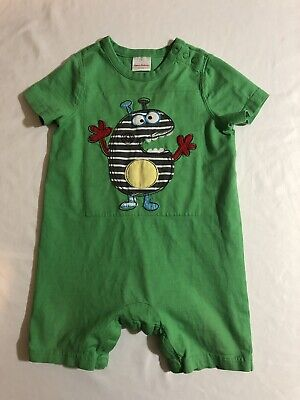 Funny Monster (Hanna Andersson Embroidered Funny Monster Summer Cotton Romper 12-18)