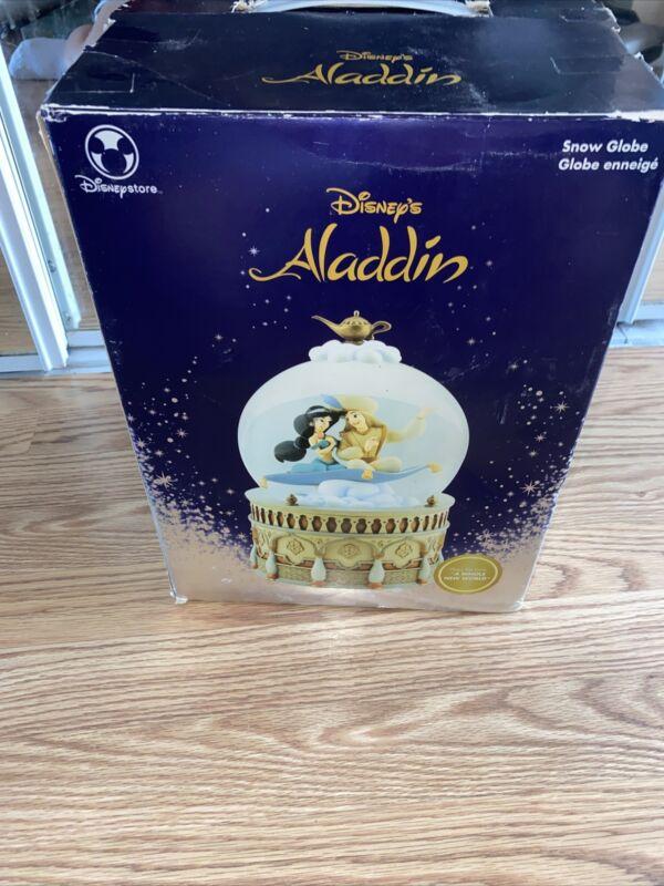 "Disney Aladdin & Jasmine Musical Jumbo Snow Globe ""A Whole New World"" RARE New"