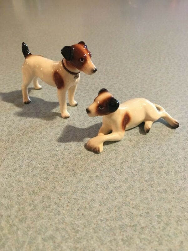 Hagen Renaker JACK RUSSELL TERRIER Puppy Dogs Standing and HTF Laying