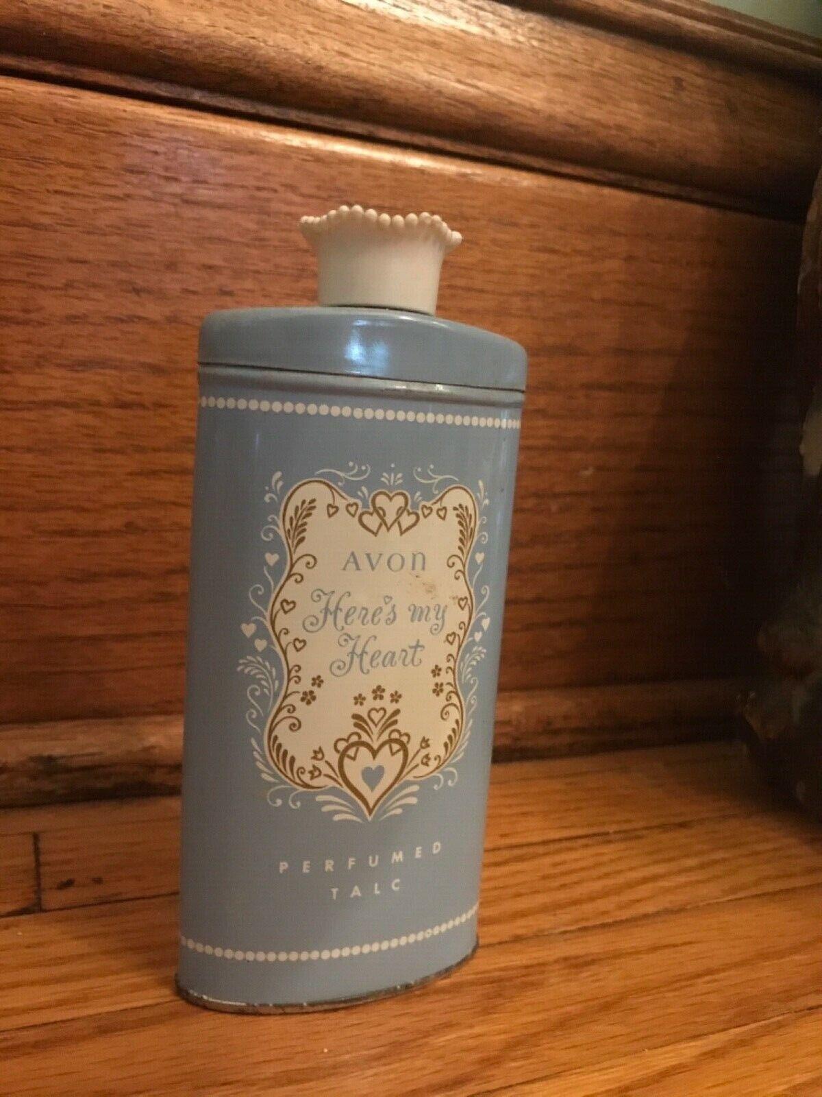 Vintage Avon Here's my Heart 2.75 oz. Perfumed Talc Powder Half Full