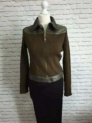 Rare 90s Marlborough Ladies green Leather & Wool Jacket Size 12/M