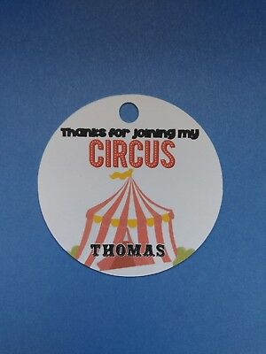12 Personalized Custom Birthday Party Favor Tags Circus tent carnival treat bags (Personalized Party Favor Bags)