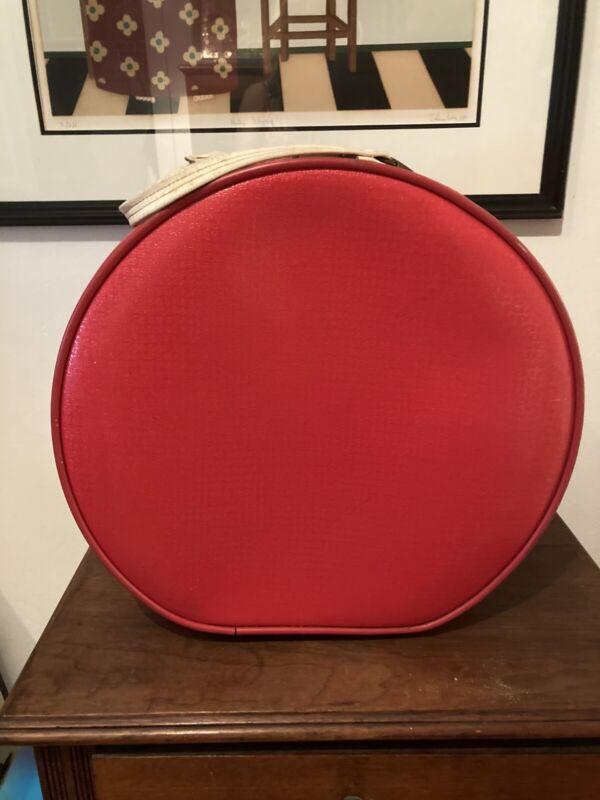 Vintage Red Round Star Line Suitcase Satchel Train Case