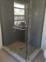 Frameless Shower glass doors enclosures railing stairs deck