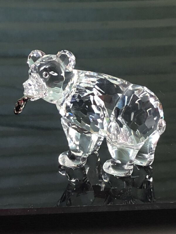 Swarovski Crystal 9637 000 007 Grizzly Bear Cub 261925 With Silver Fish In Mouth