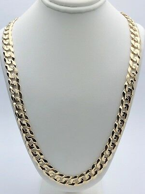 14k Yellow Gold Solid Curb Cuban Link Chain Necklace 20