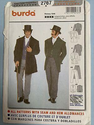 Burda 2767 Men's Costume Sewing Pattern Historical TUXEDO STEAMPUNK 34-50 UNCUT
