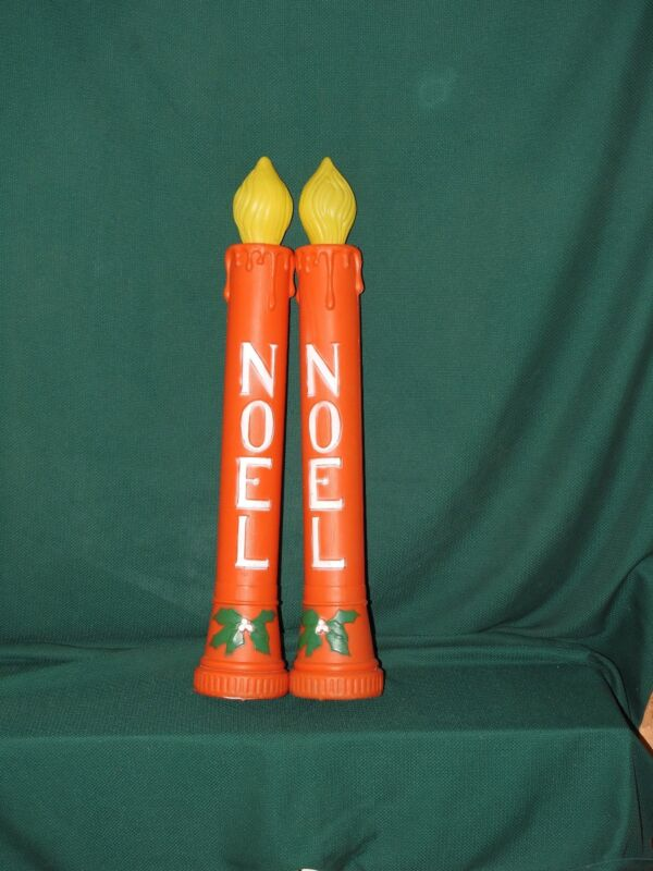 """PAIR OF VINTAGE 36"""" BLOW MOLD NOEL CHRISTMAS CANDLES HOLIDAY DECOR"""