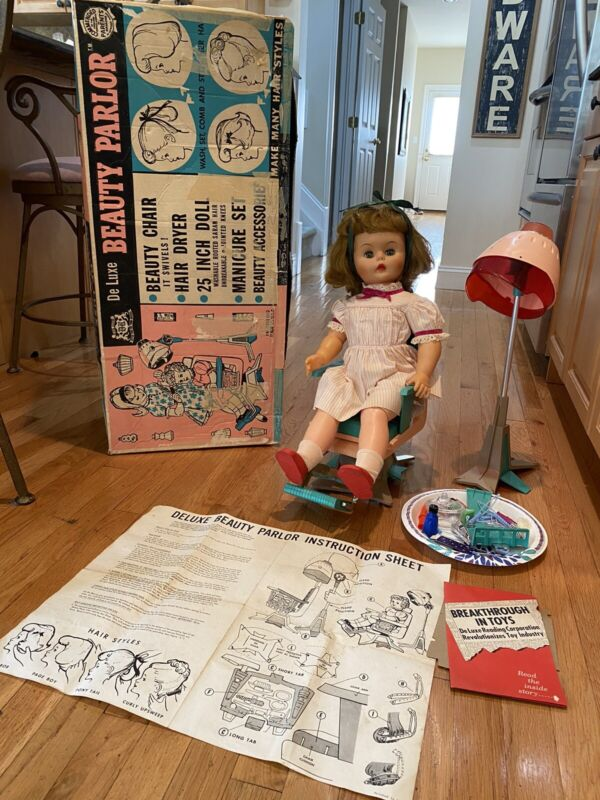 DELUXE READING BEAUTY PARLOR DOLL IN BOX W/HAIR DRYER,CHAIR & ACCESSORIES