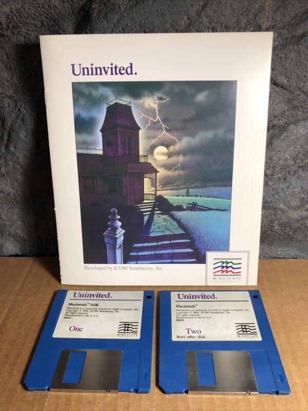 "Vintage Video Game | Uninvited | Mindscape | 1986 | Manual and 2 3.5"" Disks"