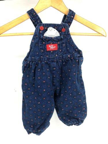 Oshkosh B'Gosh Baby Girl Denim Jean Blue 6 9 Month Vtg Overall Heart Flower