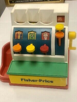 Vintage 1991 FISHER PRICE White Cash Register + 14 Coins Bell Works Drawer Opens