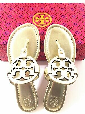 NIB Tory Burch Miller Sandals Metallic Leather Shoes Spark Gold Size 6