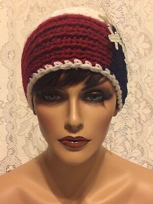 RED WHITE BLUE SNOW FLAKE Headband Bling Rhinestone Knit Head Wrap 1 Button 1 Sz (Snowflake Headband)