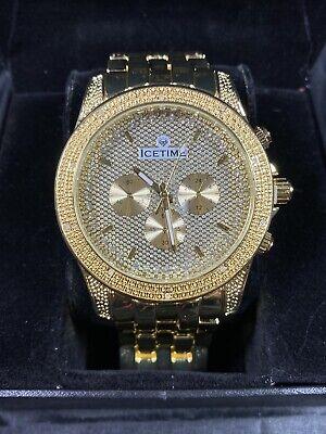 Men's Diamond Watch ICETIME Storm 48mm Steel Yellow Gold Plated  Steel Diamond Casual Watch
