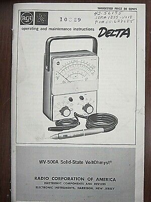 Rca Wr-500a Solid-state Voltohmyst Operating Maintenance Instructions