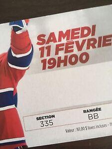 Billet des Canadiens match de hockey 11 fevrier blues