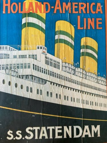 Holland-America Line S.S. Statendam Vintage Poster on Board