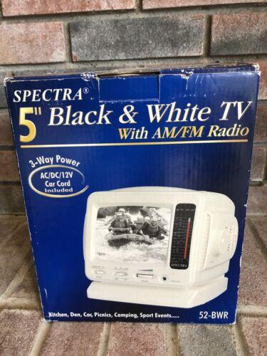 Brand New Spectra 5 Inch Black & White Analog TV 3 way power