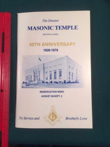 Decatur, Illinois Masonic Temple 50th Anniversary 1928-1978 Rededication Program