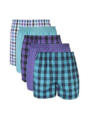 Gildan Men's Plaids/Solid/Polka Dot 5 Pack Woven Boxers Size 32-34 Medium Solid Woven Boxer