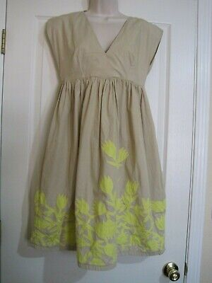 Hoss Intropia Anthropologie Cotton Floral Applique Empire Waist Dress 38 (6)