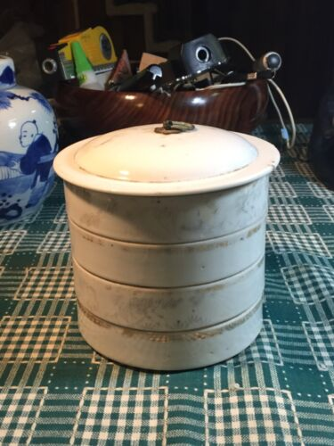 Antique Chinese Rose Canton porcelain stacking boxes 4 layers & lidded top