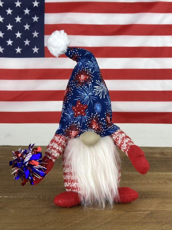 patriotic july 4th gnomes plush tiered tray decor