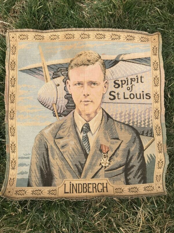 Charles Lindbergh Tapestry Spirit of St Louis Airplane Woven France Unusual Size