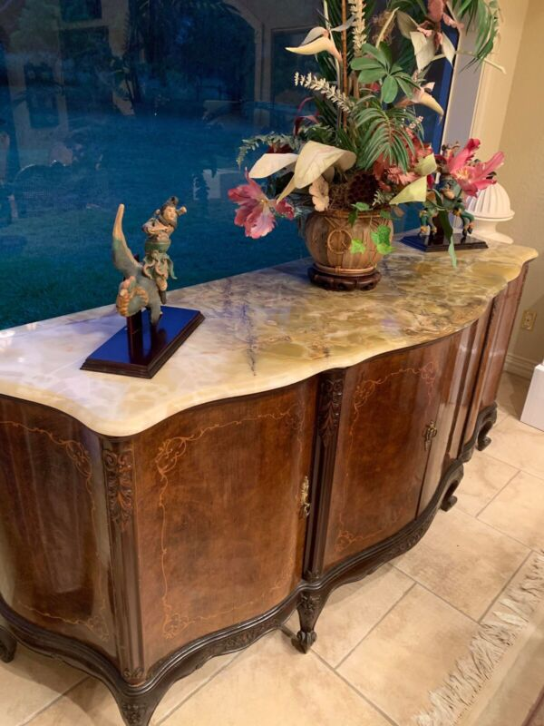 Antique French Inlaid Burl Wood Buffet Cabinet Sideboard Onyx Top Large