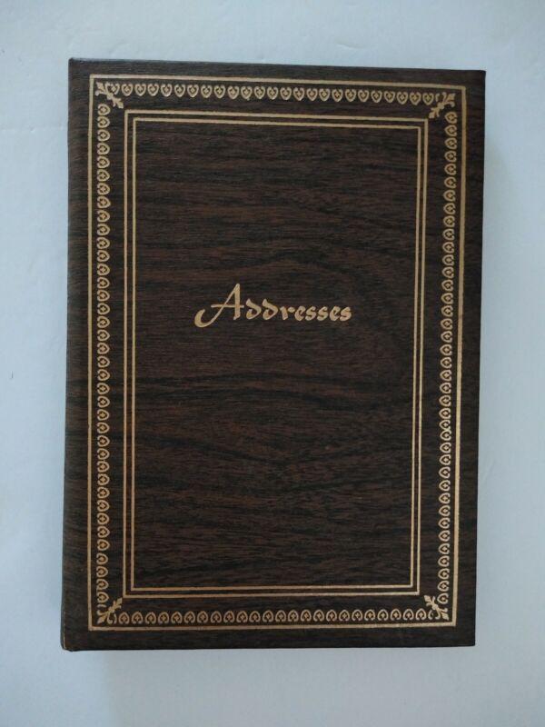 Vtg Wood Padded Telephone Address Phone Book Binder A-Z Index USA Gold Foiled