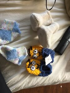 Minion baby booties, GAP slippers and knit slippers