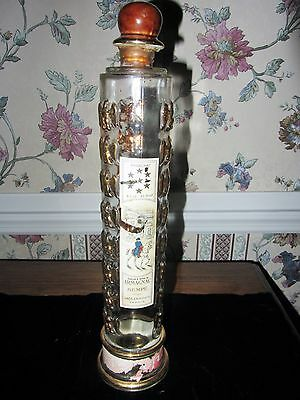 SEMPE ARMAGNAC TALLCLEAR GLASS GOLD EAGLE DECANTER BOTTLE; LEADING IMPORTS
