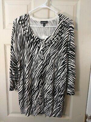 Fasion Bug Womens Zebra Animal print top size 0X NWT