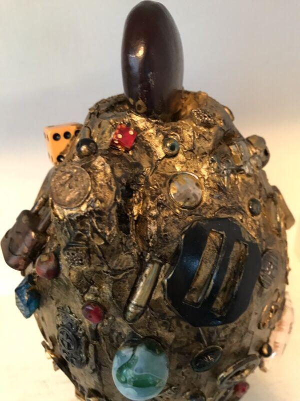 Vintage Gold Spirit Found items trinkets Memory Jug Jar Folk Art - See's Candy