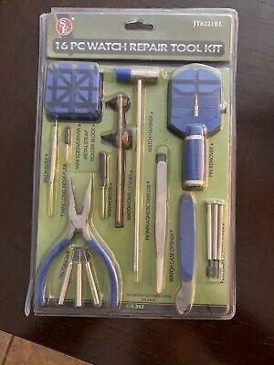16pcs Watch Repair Tool Kit Link Remover Screwdriver Spring Bar Tool Case Opener