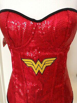 Halloween Costume Wonder Women, Red Bustier Sequined, Size XXS to M. Adjustable.