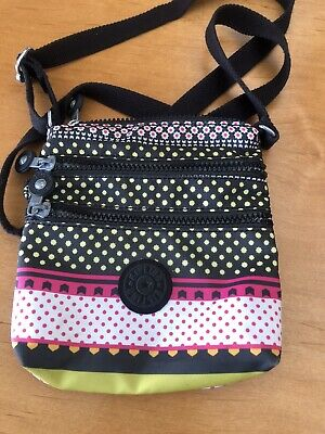Kipling Keiko Small Gray Cross- body Purse Bag Multi-Color EUC
