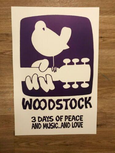 """Woodstock Music Festival 1969 White Cardstock Concert Poster 12"""" x 18"""""""