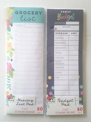 New 3 Birds Design Grocery Listbudget Pad For Any Mini 3 Ring Binder Planner