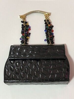 Rare Vtg Gianni Versace Patent Croc Leather Bead Handle 90s Bag