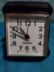 Vintage Folding Westclox Travel Alarm Clock Analog Display W/ Brown Case Windup