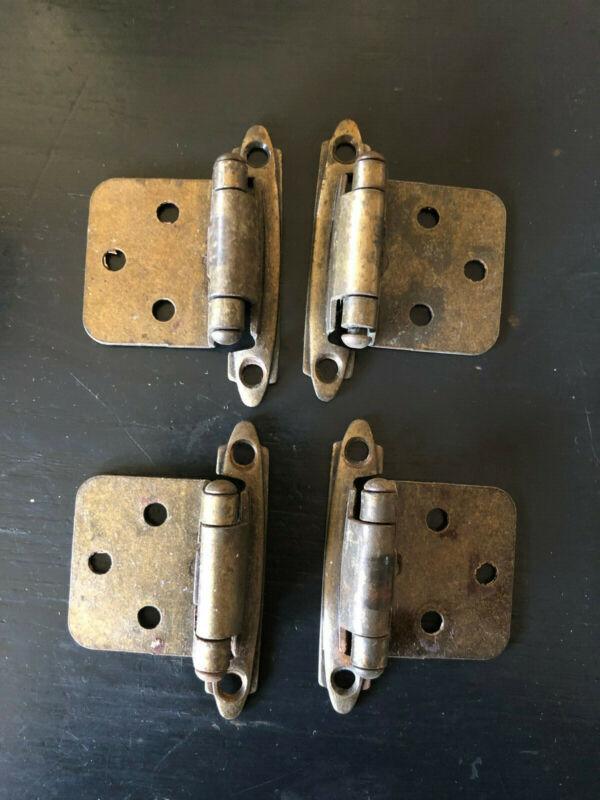 """4 Vintage Cabinet Door Hinges Metal 17/8"""" wide x 2 3/4"""" high"""